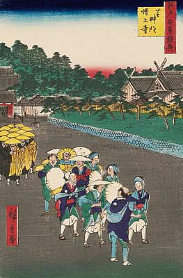 Asia Painting - Shiba Shinmei Shrine And Zojo-ji Temple by Utagawa Hiroshige