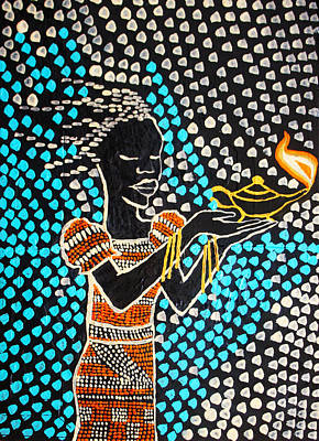 Painting - Shilluk South Sudanese Wise Virgin by Gloria Ssali