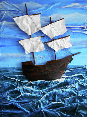 Mixed Media - Ship by Angela Stout