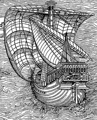 Sailboats Drawing - Ship From The Time Of Christopher Columbus by English School