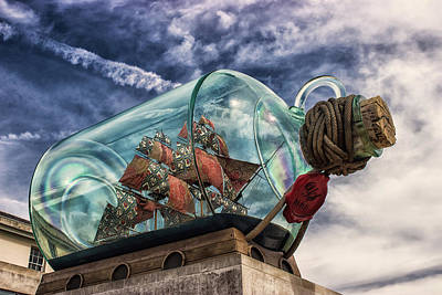 Toy Boat Photograph - Ship In A Bottle by Martin Newman