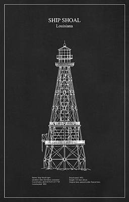 Drawing Digital Art - Ship Shoal Lighthouse - Louisiana - Blueprint Drawing by Jose Elias - Sofia Pereira