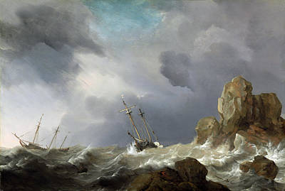 Painting -  Ships In A Gale by Willem van de Velde the Younger