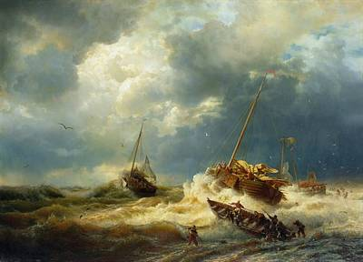 Stormy Weather Painting - Ships In A Storm On The Dutch Coast by Mountain Dreams
