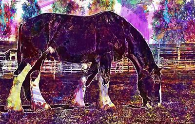 Digital Art - Shire Horse Horse Coupling  by PixBreak Art