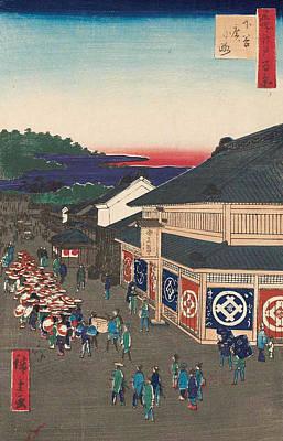 Print Painting - Shitaya Hirokoji by Utagawa Hiroshige