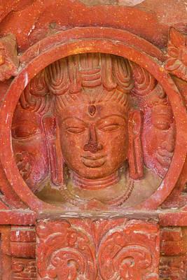 Shiva's Face On A Pillar At Chand Baori Art Print by Nila Newsom