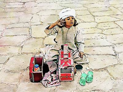 Digital Art - Shoeshine Girl - Nile River, Egypt by Joseph Hendrix