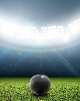 Turf Digital Art - Shotput Ball In Generic Floodlit Stadium by Allan Swart