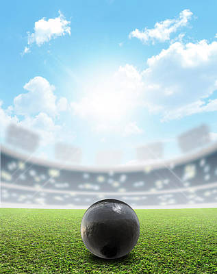 Stadium Digital Art - Shotput Ball Stadium And Green Turf by Allan Swart
