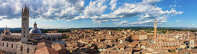 Photograph - Siena, Italy Panorama Rooftop City View. Siena Cathedral And Mangia Tower by Michal Bednarek