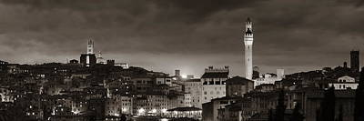 Photograph - Siena Panorama View At Night by Songquan Deng