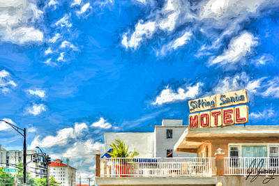 Rooftops Mixed Media - Sifting Sands Motel Blue Sky by Joshua Zaring