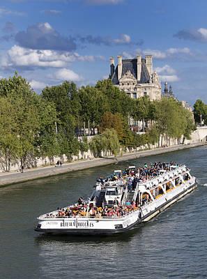 Louvre Photograph - Sightseeing Boat On River Seine To Louvre Museum. Paris by Bernard Jaubert