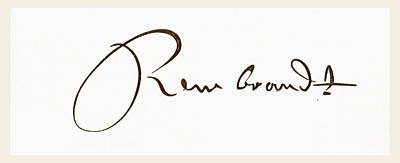 Caligraphy Drawing - Signature Of Rembrandt Harmenszoon Van by Vintage Design Pics