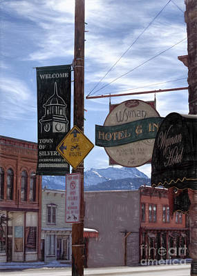 Telephone Wires Drawing - Signs Of Silverton Colorado by Janice Rae Pariza