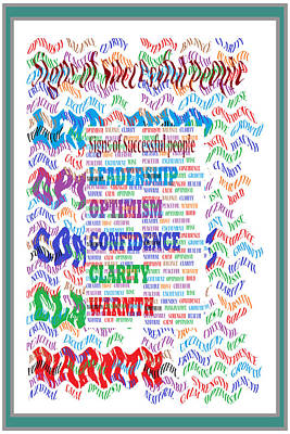 Youthful Mixed Media - Signs Of Successful People A Texto-graphic Of Leadership Qualities Poster by Navin Joshi