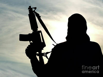 Jihad Photograph - Silhouette Of Soldier by Oleg Zabielin