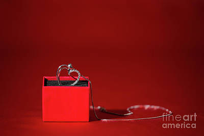 Sterling Silver Photograph - Silver Heart Pendant In A Red Gift Box by Luigi Morbidelli