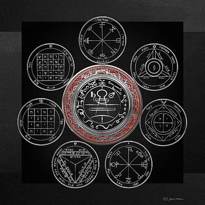 Magician Photograph - Silver Seal Of Solomon Over Seven Pentacles Of Saturn On Black Canvas  by Serge Averbukh