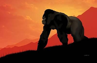 Art Print featuring the digital art Silverback Gorilla by John Wills