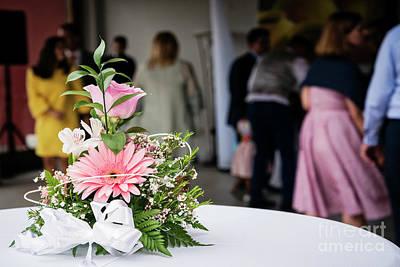 Photograph - Simple Flower Arrangement Decoration Detail At Wedding Ceremony by Jacek Malipan