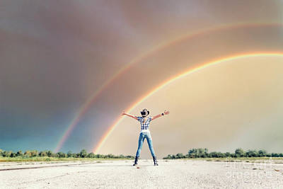 Double Rainbow Photograph - Sing Me A Rainbow by Evelina Kremsdorf