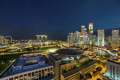 Central Photograph - Singapore Cityscape At Night by David Gn