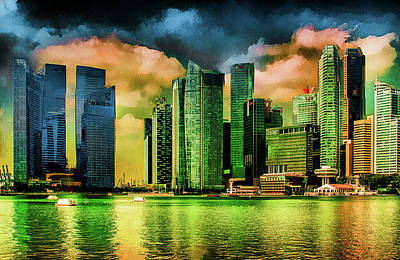 Mixed Media - Singapore Skyline by Joseph Hollingsworth