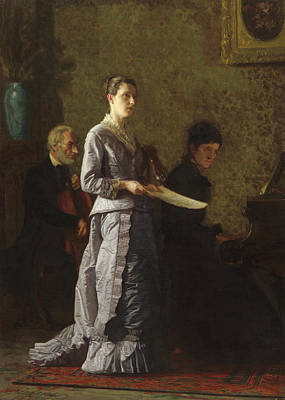 Singer Painting - Singing A Pathetic Song by Thomas Eakins