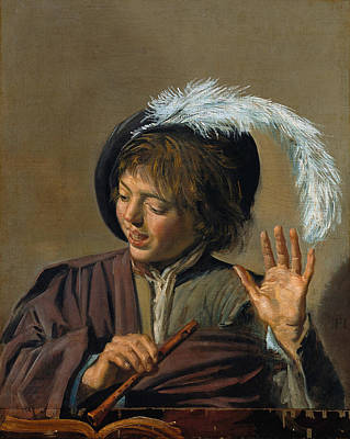 Flute Painting - Singing Boy With Flute by Frans Hals