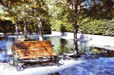 Painting - Single Bench by Ricky Dean