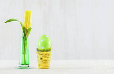 Photograph - Single Easter Egg In A Pot. by Michal Bednarek