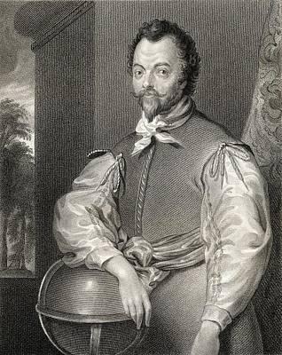 Drake Drawing - Sir Francis Drake C.1540 3   1596 by Vintage Design Pics