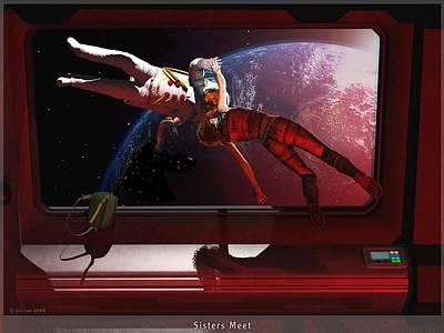Science Fiction Digital Art - Sisters Meet by Jim Coe