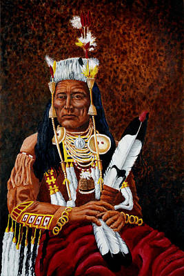 Medicine Crow Painting - Sits With Thoughts by Robert M Walker