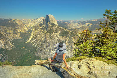 Photograph - sitting at Glacier Point by Benny Marty
