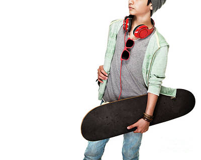 Photograph - Skateboarder Over White Background by Anna Om