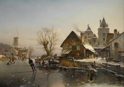 Village Painting - Skaters On The Canal by Johannes Duntze