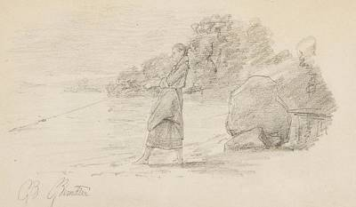 Woman Fishing Painting - Sketch by MotionAge Designs