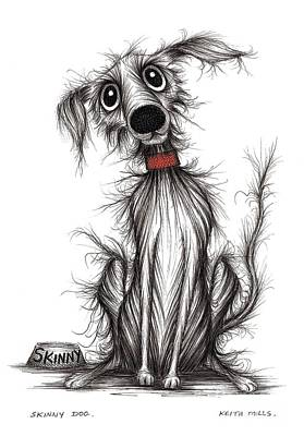 Skinny Puppy Drawing - Skinny Dog by Keith Mills