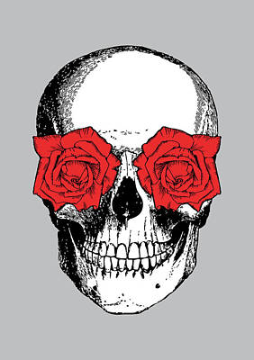 Skull And Roses Art Print by Eclectic at HeART