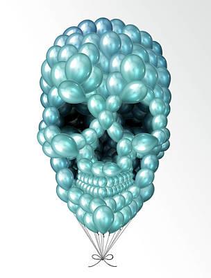 Calavera Digital Art - Skull Balloons by Francisco Valle