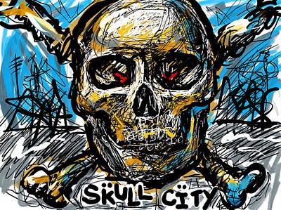 Digital Art - Skull City by Joe Bloch