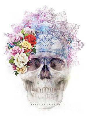 Digital Art - Skull Queen With Butterflies by Xrista Stavrou