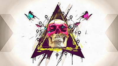 Fractal Geometry Painting - Skull by Vadim Pavlov