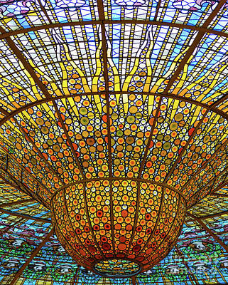 Photograph - Skylight In Palace Of Catalan Music  by Andrew Michael