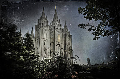 Utah Temple Photograph - Slc Vintage Blue by La Rae  Roberts