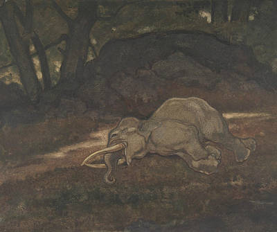 Drawing - Sleeping Elephant by Antoine-Louis Barye