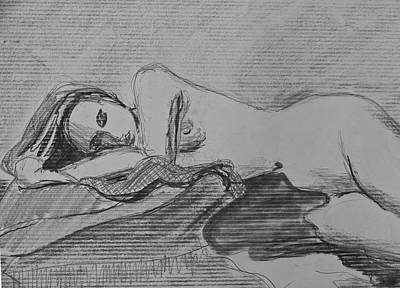 Drawing - Sleeping Nude by Don Perino